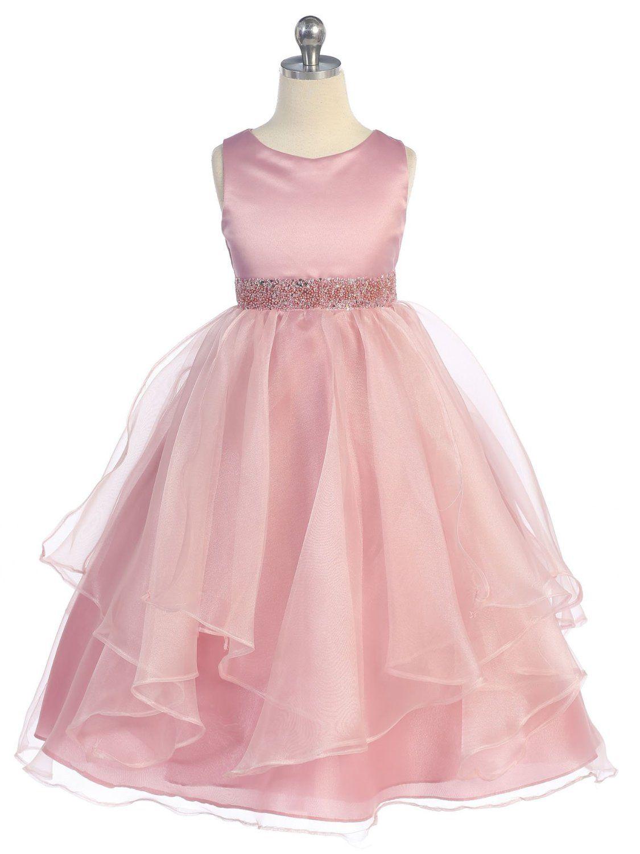 Girls chic baby asymmetric ruffles satinorganza flower girl dress