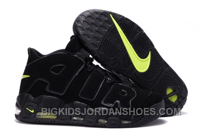 c54bb69ec61 Men's Nike Air More Uptempo Black Volt Basketball Shoes Up To Size ...
