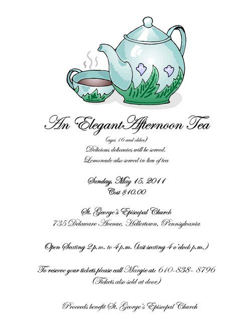 Church Tea Party Program | Elegant Tea Party, May 15 At St