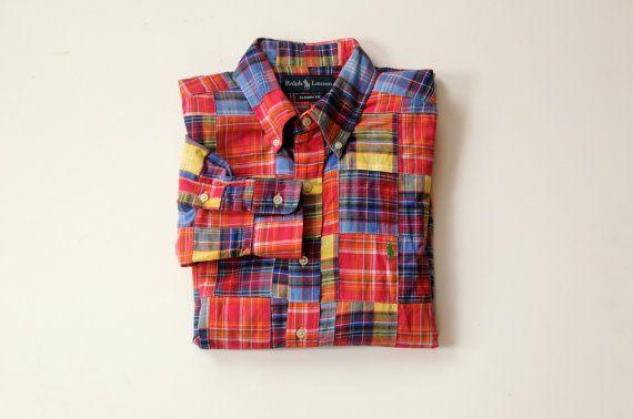 95d54379 vintage plaid madras shirt Polo Ralph Lauren 100% cotton India summer dress  shirt medium large $29.50