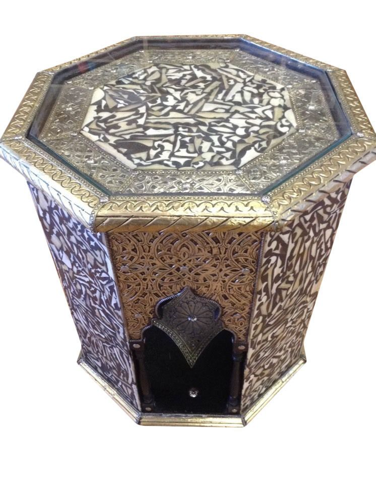 Moroccan Octagonal End Table Silver Metal Camel Bone U0026 Wood Arabic  Furniture #Handmade #Moroccan