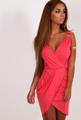 Shelia Coral Wrap Mini Dress