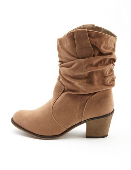 Sueded Slouchy Cowboy Boot: Charlotte Russe $35