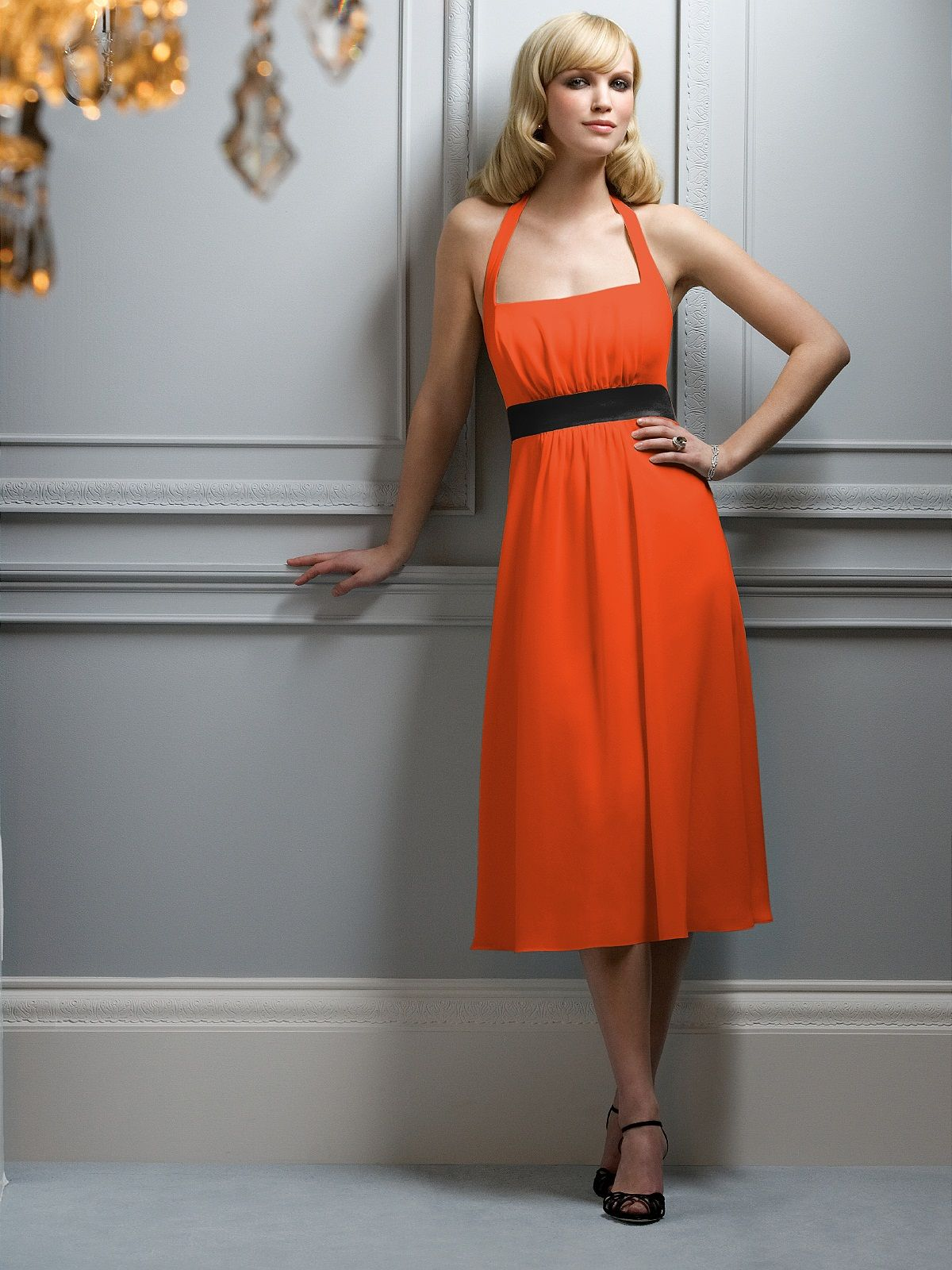 Theme Wedding Black And Orange Bridesmaid Dress