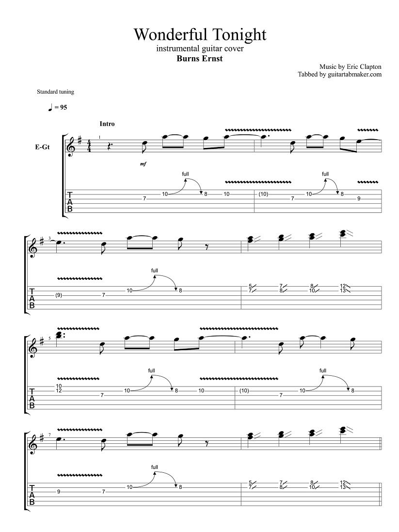 Wonderful Tonight Guitar Tabs Instrumental Guitar Tab Easy Pdf Guitar Sheet Music Guitar Pro Tab Dow Guitar Tabs Songs Guitar Tabs Guitar Tabs Acoustic