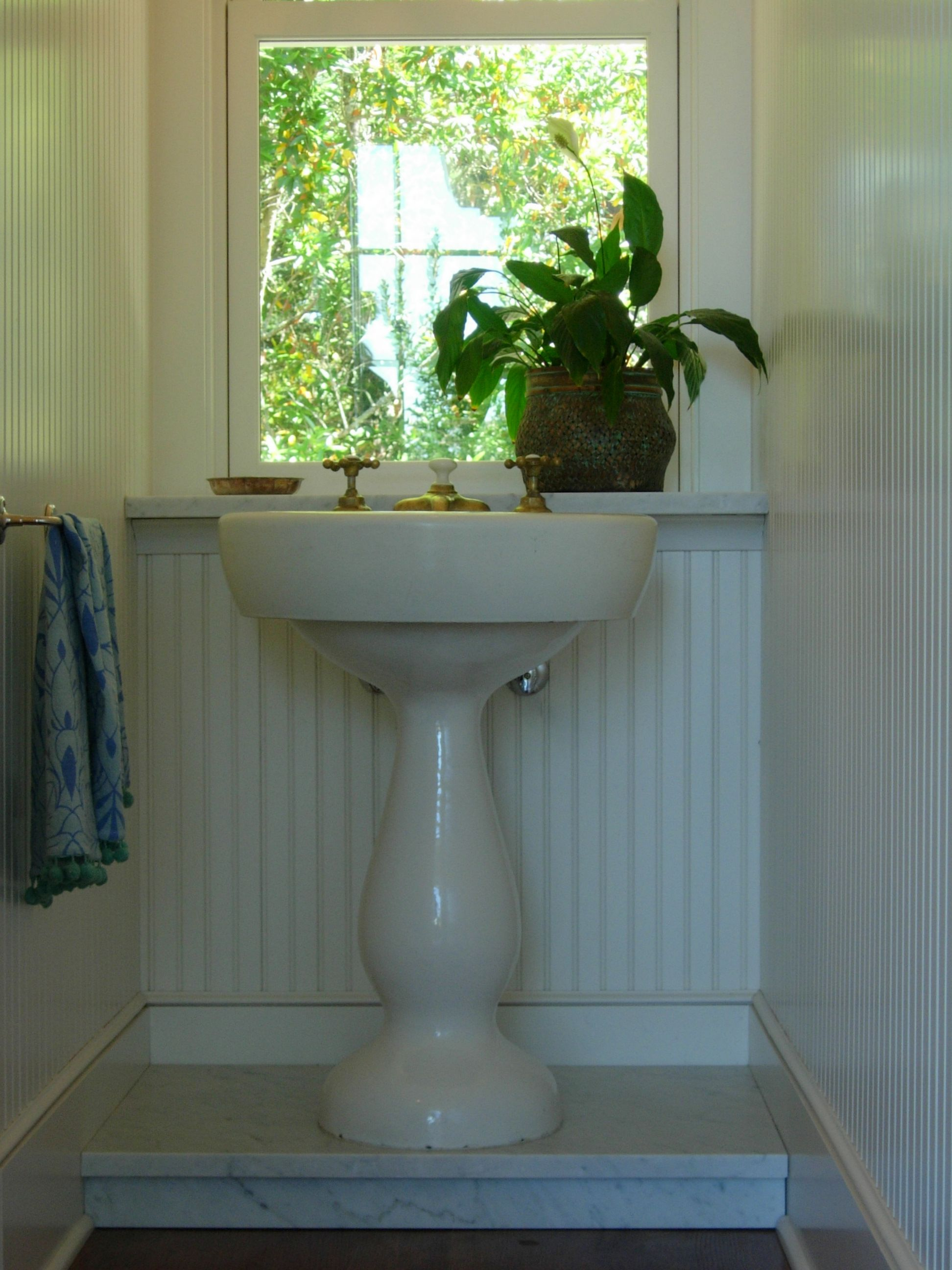 Elevate Your Antique Pedestal Sink By Building A Platform. Bring It Up To  The Height That Feels Right.