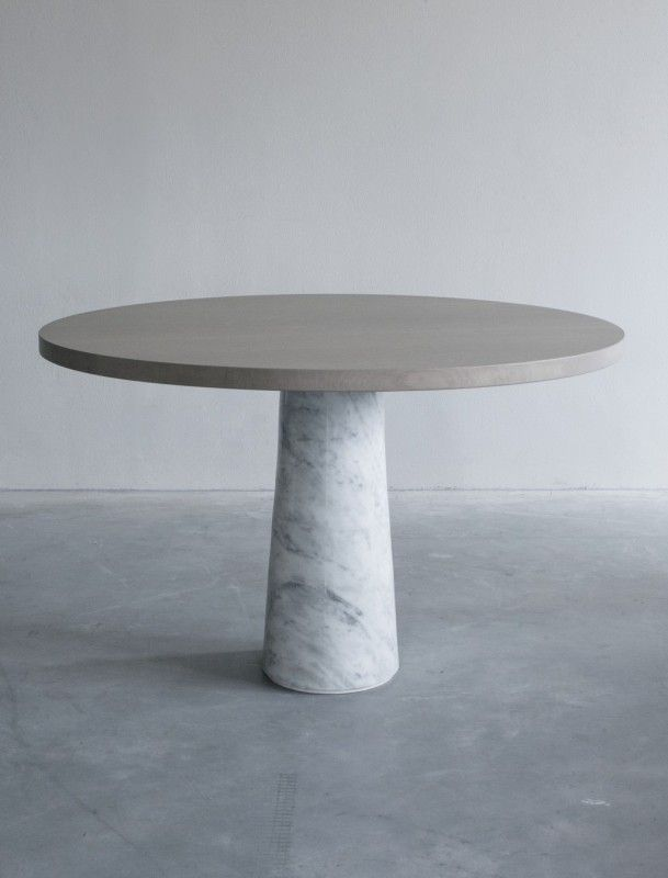 Silhouette Pedestal Dining Table Round White Marble Antique
