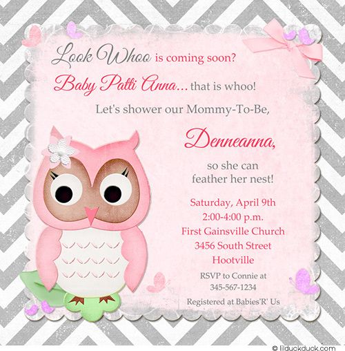 Chevron Gray U0026 Pink Owl Baby Shower Invitation For Spring