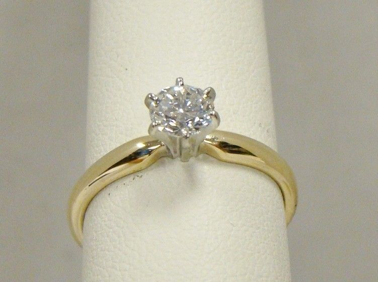 14k Yellow Gold 50 Ct Round Diamond Solitaire Ring Si1 H Color 1 2 Carat Sz 6 5 Round Diamond Solitaire Ring Diamond Solitaire Rings Diamond