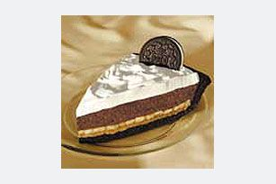 Chocolate Peanut Butter Banana Pie - A chocolate-sandwich-cookie crust is layered with peanut butter, sliced bananas, chocolate pudding and whipped topping for a decadent no-bak... #bananapie