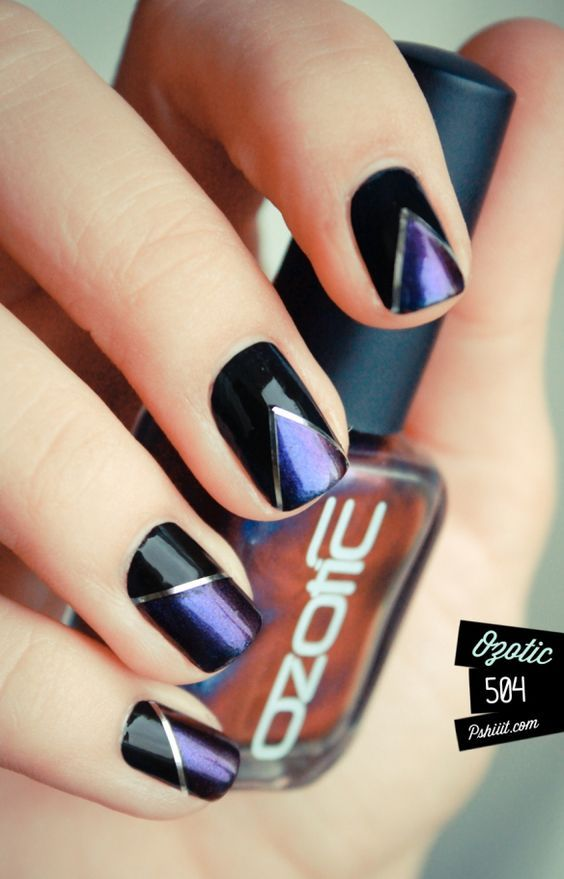 Classy Navy Blue And Black With Silver String Tape Nail Design