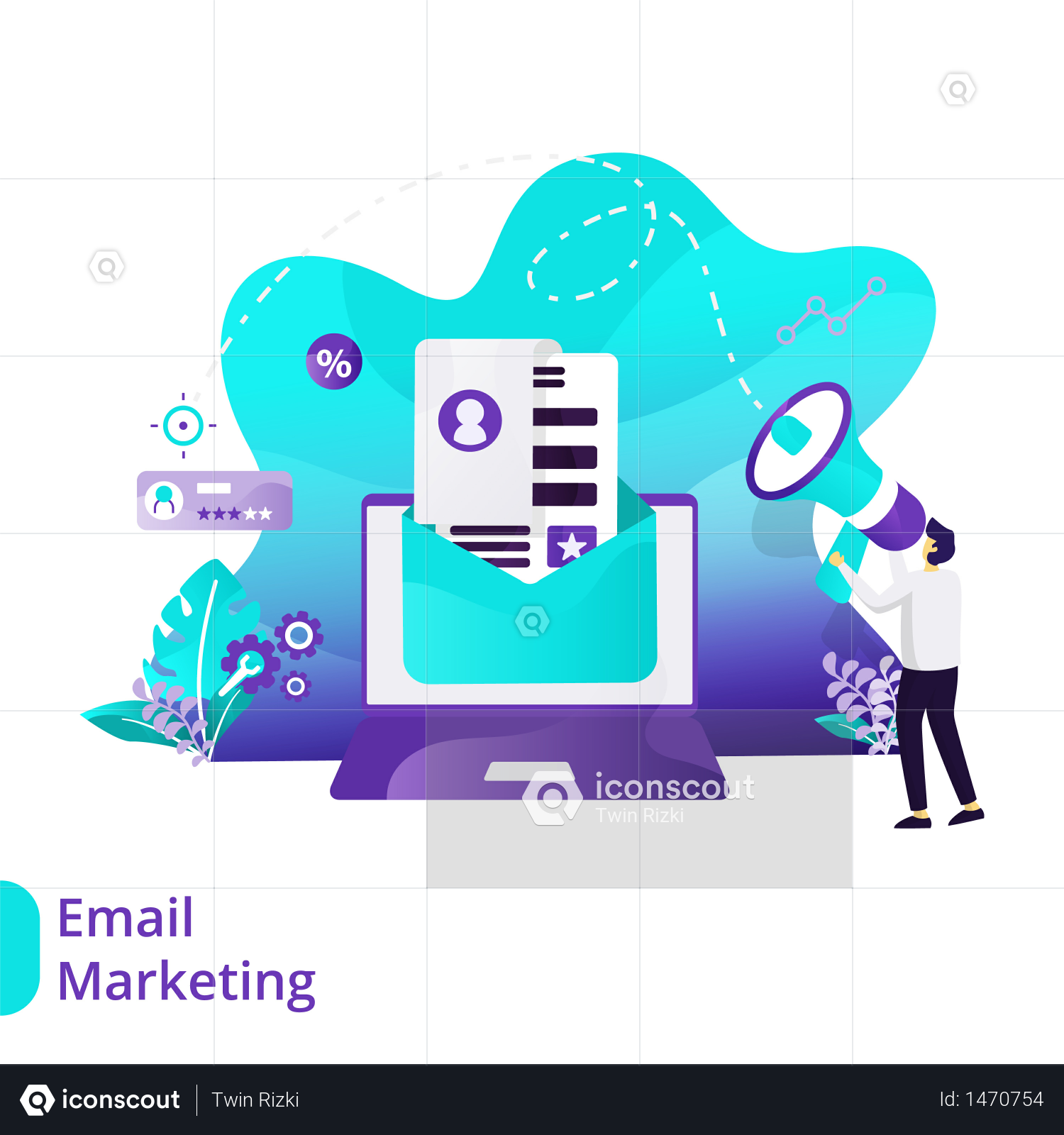 Premium Landing Page Of Email Marketing Illustration Download In Png Vector Format In 2021 Email Marketing Landing Page Marketing