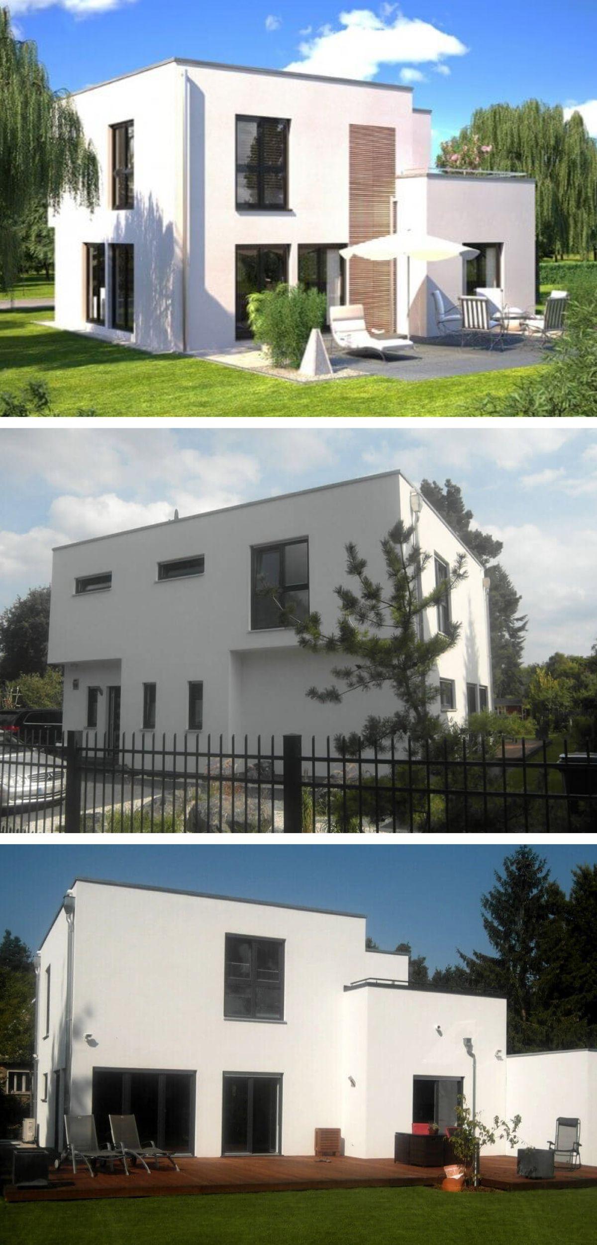 Moderne Bauhaus Villa mit Flachdach Architektur - Fertighaus Design ...