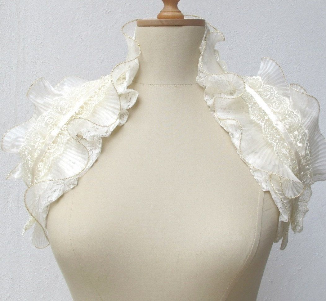 CROCHETBUTTERFLY: Ivory Cream Lace Shoulder Wrap Bridal Ruffle ...
