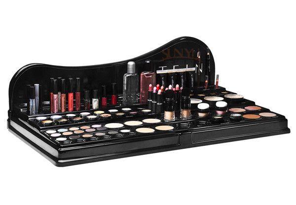 Quality Acrylic Makeup Organizer Cosmetics Display Racks Cosmetic Countertop Black Smooth Manufacturers Exporter