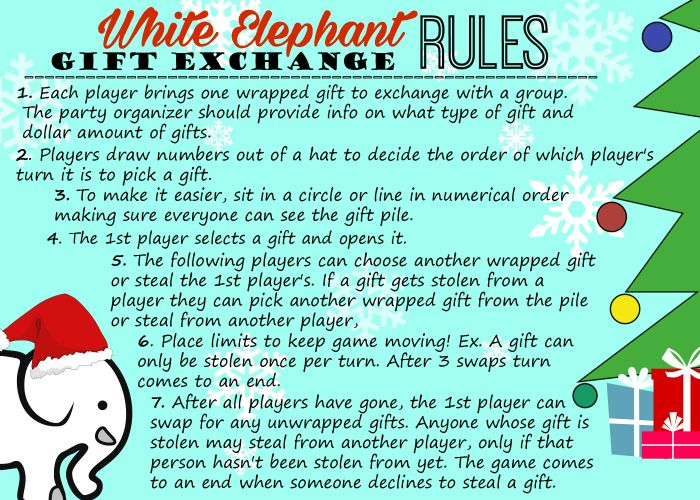 White elephant gift exchange tips and free printables white elephant gift exchange rules negle Image collections