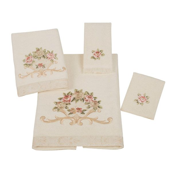Decorative Bath Towel Sets Rosefan Ivory Floral Decorative Towelsavanti  Floral Bath