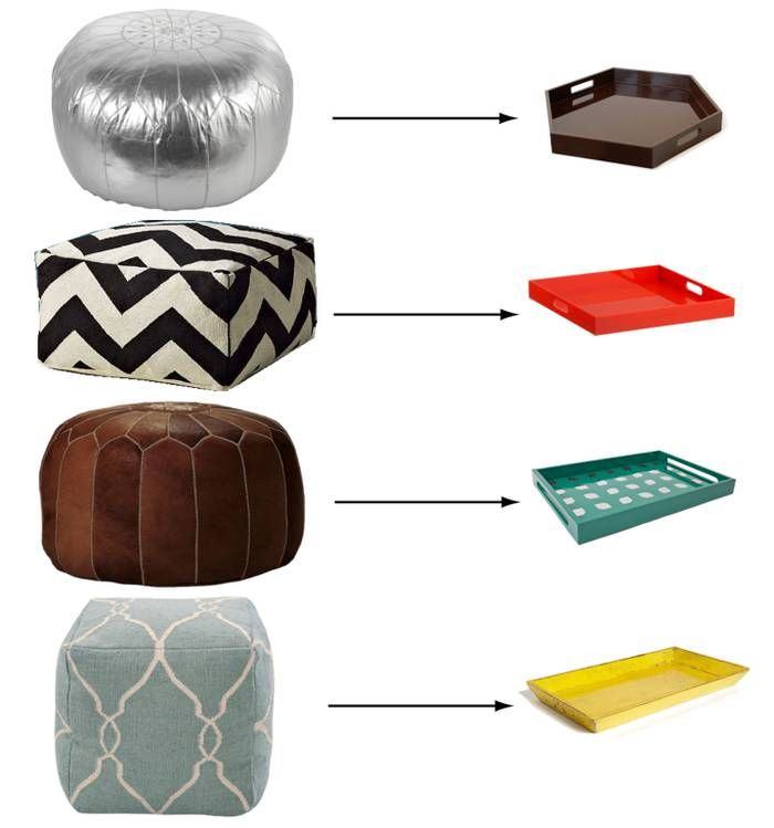 loving the idea of pouf as coffee table, especially for a less