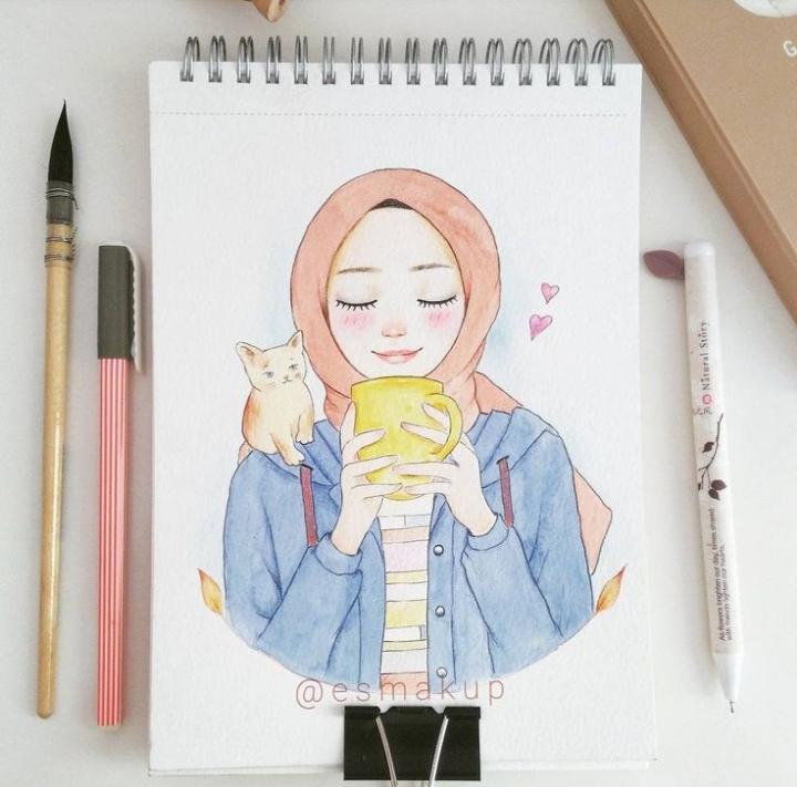 Ide oleh 𝙃𝙖𝙥𝙥𝙞𝙡𝙮 𝙈𝙖𝙬𝙖𝙙𝙖 pada Hijabi girl Seni islamis