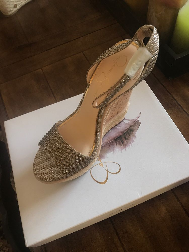 5e072fd5aeb Jessica Simpson JS-Alasss Gold Wedge heel Size 11 #fashion #clothing ...