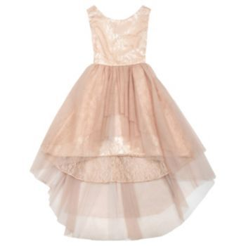Rare Editions Lace High-Low Glitter Dress - Girls 7-16