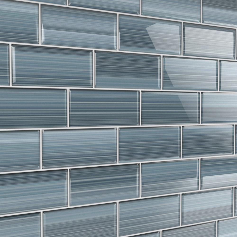 Bodesi deep ocean 3 in x 6 in glass tile for kitchen