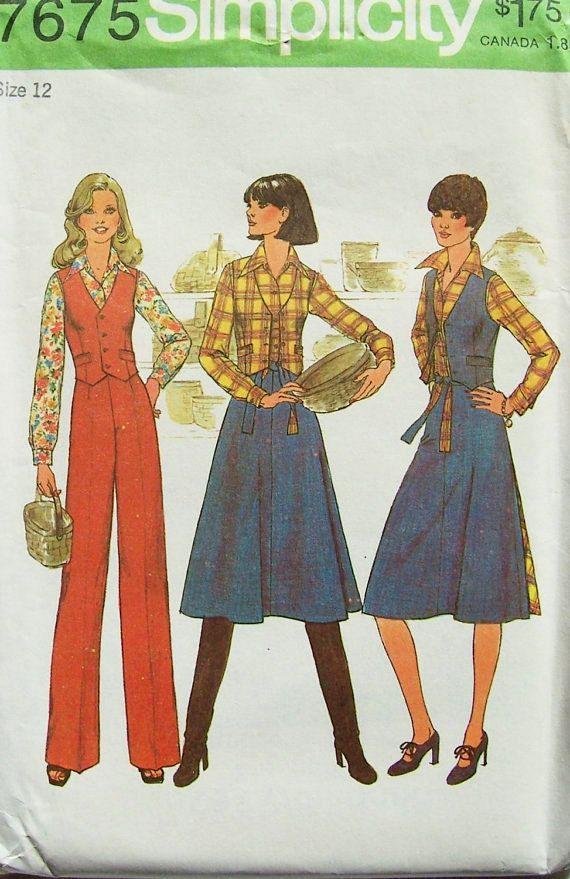 Retro 70\'s Misses\' Blouse Vest Pants Wrap Around Skirt Size 12 UNCUT ...