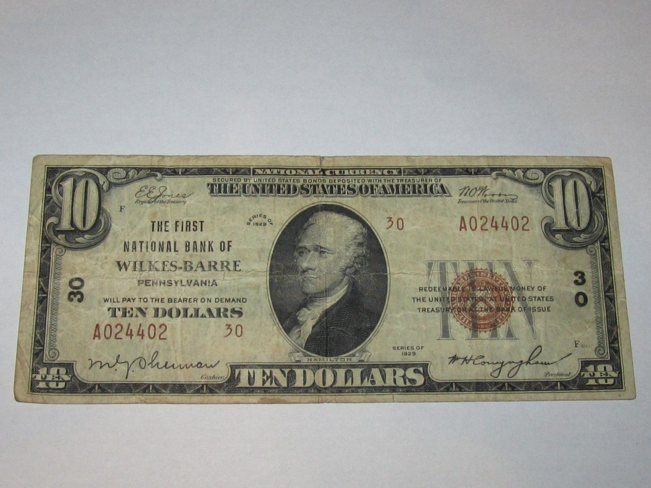 10 1929 wilkesbarre pennsylvania pa national currency