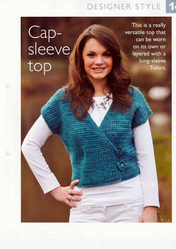 Pdf Vintage Crochet Pattern Womens Crochet Cap Sleeve Top In Dk