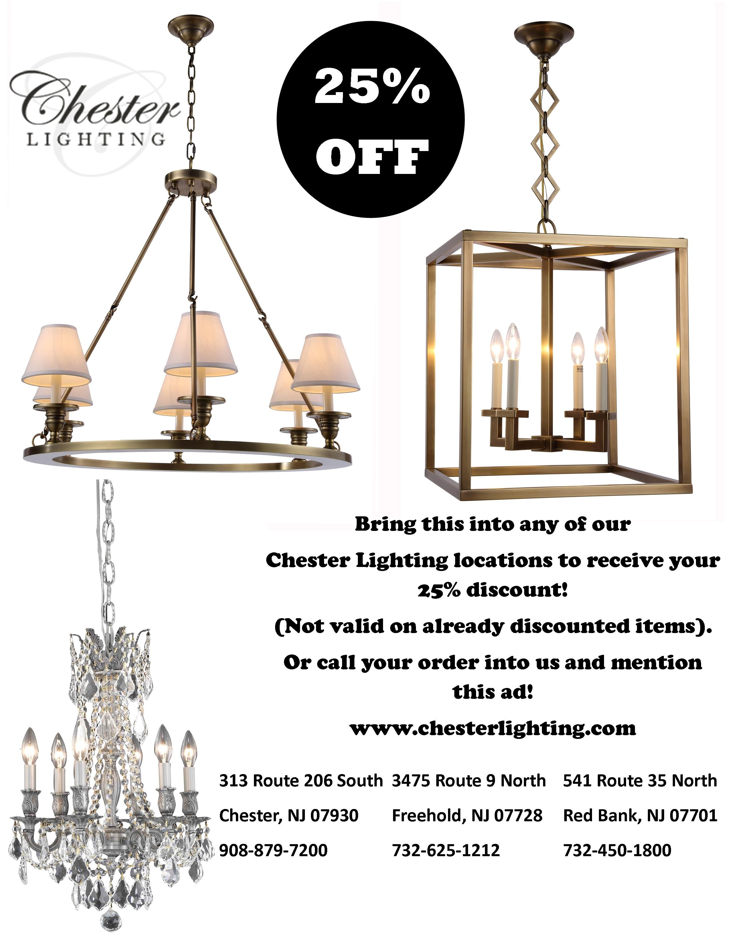 Bring this into any of our Chester Lighting locations to receive
