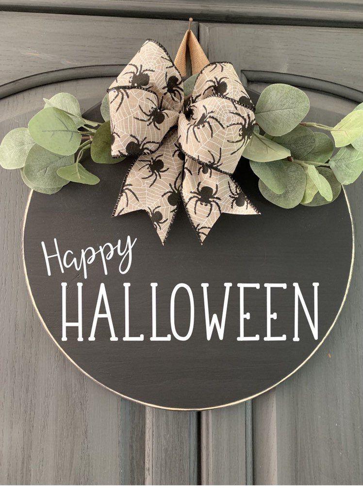 Happy Halloween Door Hanger Welcome Sign Round Door Sign Wood Round Wreath Farmhouse Sign Burlap Spider Bow Fall Sign Halloween Door Hangers Halloween Door Wooden Wreaths