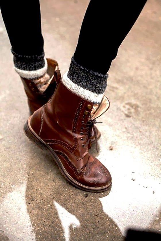 coturno marrom com meia de lã / / / inverno vintage