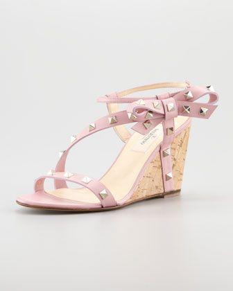 92eaeac18b9 Zoom + Valentino ~ Rockstud Asymmetric Bow Wedge Sandal