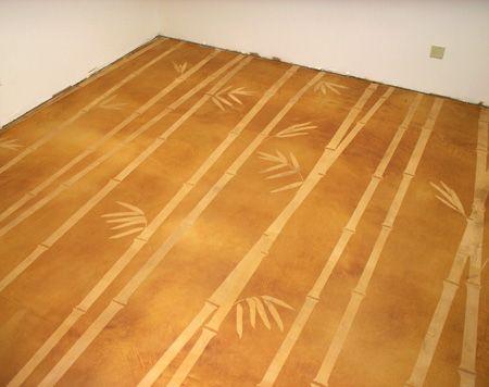 Bamboo Forest Decorative Concrete Floor adds nature design it says Modello stencils