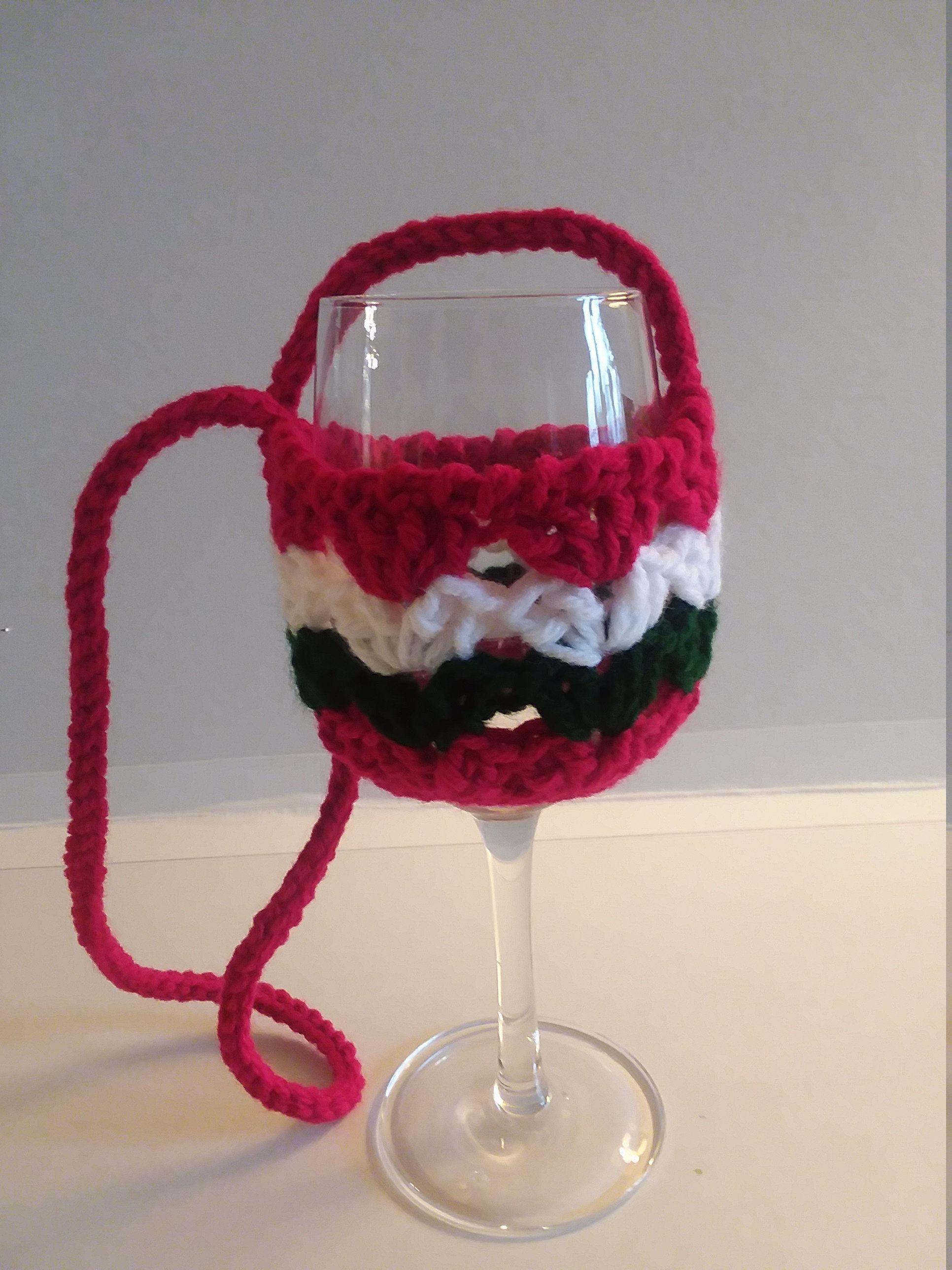 Crocheted Wine Lanyard Christmas Wine Lanyard Wine Glass Holder Stocking Stuffer Wine Cozy Wine Necklace Crocheted Wine Glass Holder Christmas Wine Wine Glass Holder Wine Glass