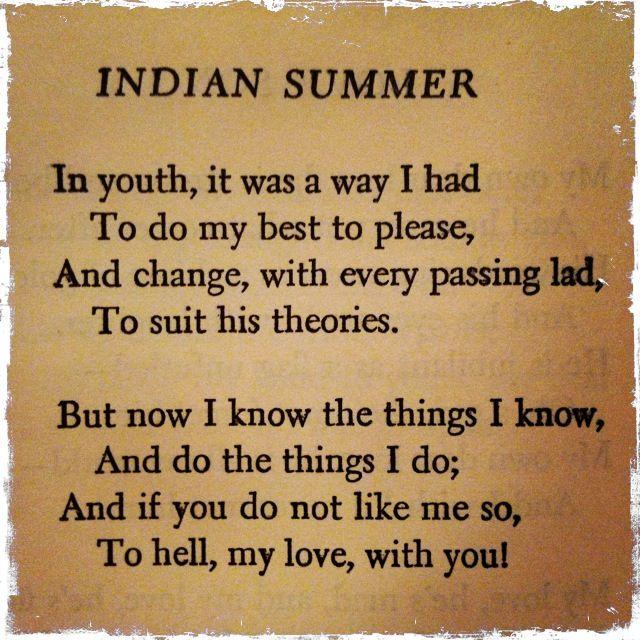 Indian Summer by Dorothy Parker Dorothy parker, Indian summer - dorothy parker resume