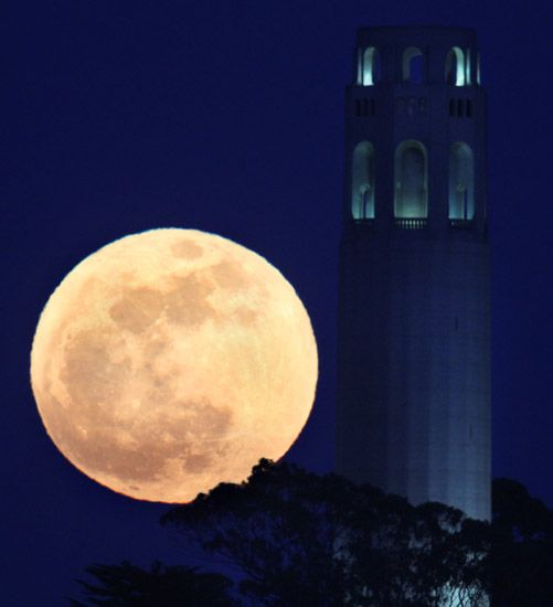 Coit Tower, San Francisco, SuperMoon May 5th, 2012