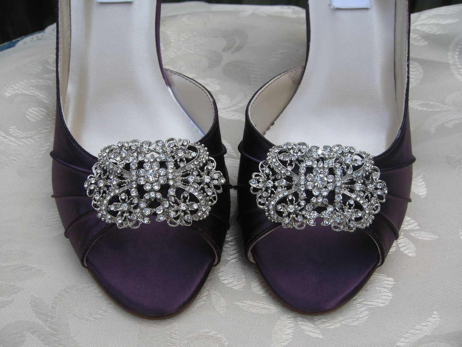 2f34800cdb9658 Vintage Inspired Purple Eggplant Bridal Shoes with Square Crystal Rhinestone  Brooch - Over 100 Color Shoe Choices to Pick From.  145.99
