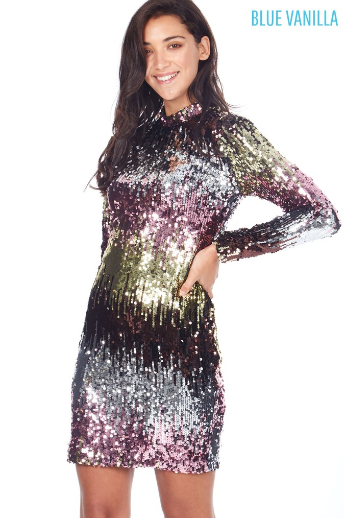 ebf13fc94e6c Womens Blue Vanilla High Neck Sequin Dress - Gold | Products ...