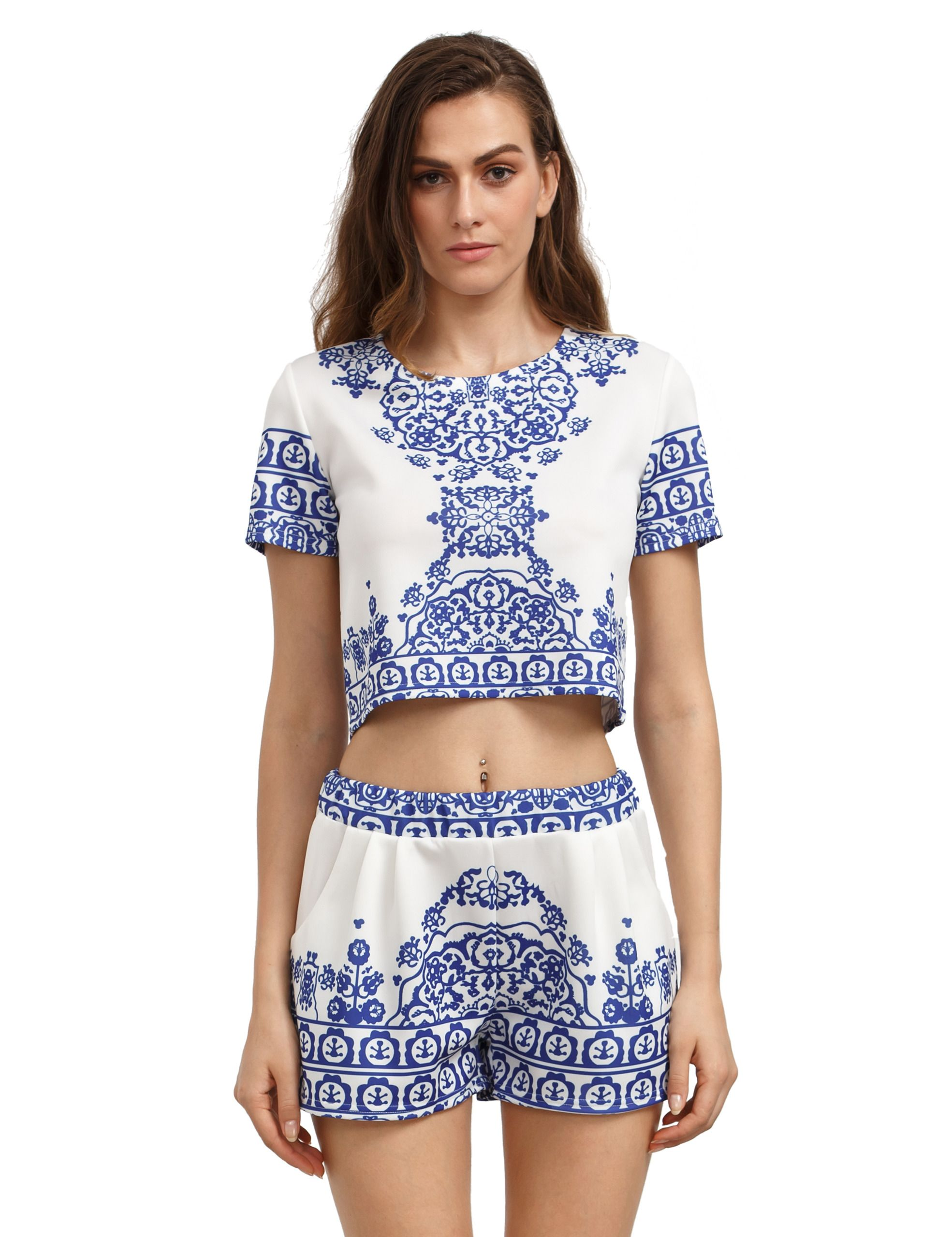 Blue White Short Sleeve Floral Crop Top With Shorts | Ropa ...