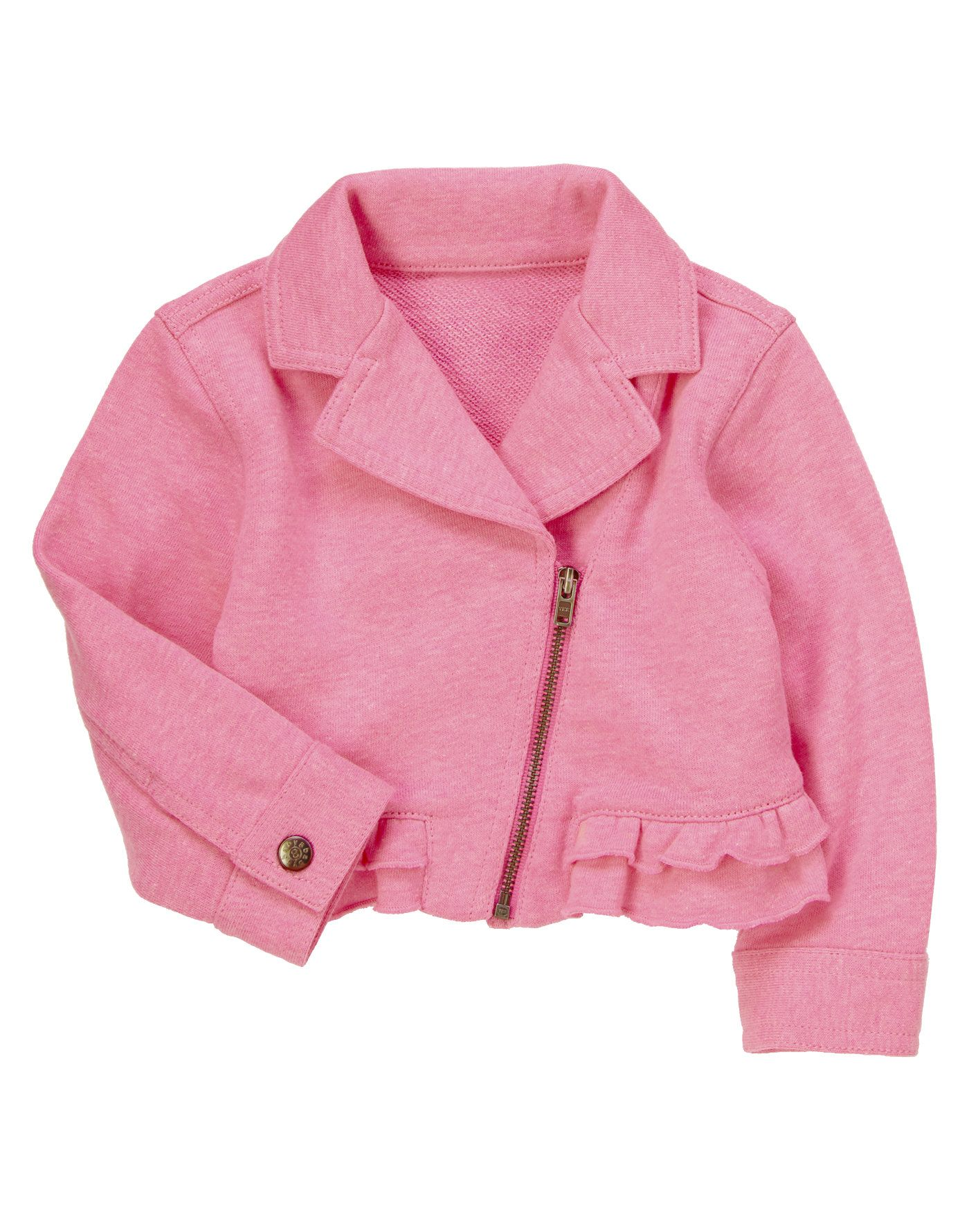 Neon pink jacket sweater with pretty ruffles and a moto style ...