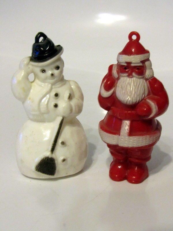 Vintage Hard Plastic Christmas Snowman And Santa Tree Ornaments 50s