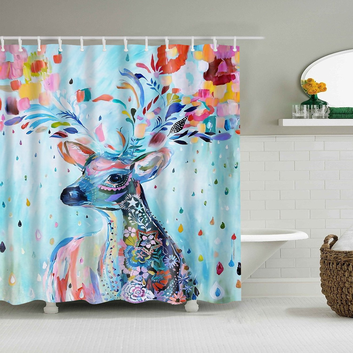 Colorful Deer Oil Painting Shower Curtain Antlers Tree Art