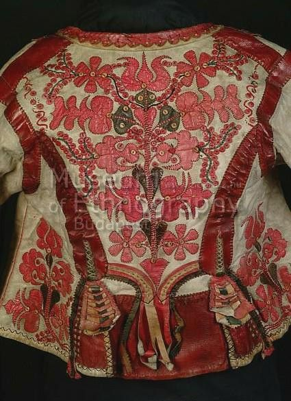 Woman S Coat Made Of Sheep Skin Traditional Hungarian Applied Ornaments Out Of Leather End Of 19th Century Museum Folk Clothing Leather Art Coats For Women