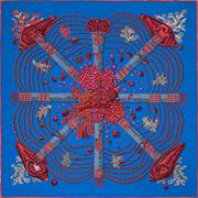 La Maison des Carrés Hermès | 90 x 90 cm scarf Chemins de Corail blue