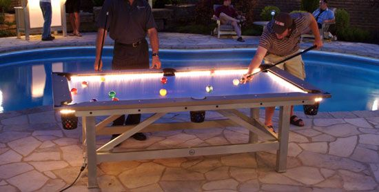 Outdoor Pool Table Features Built In Lighting For Nighttime Play