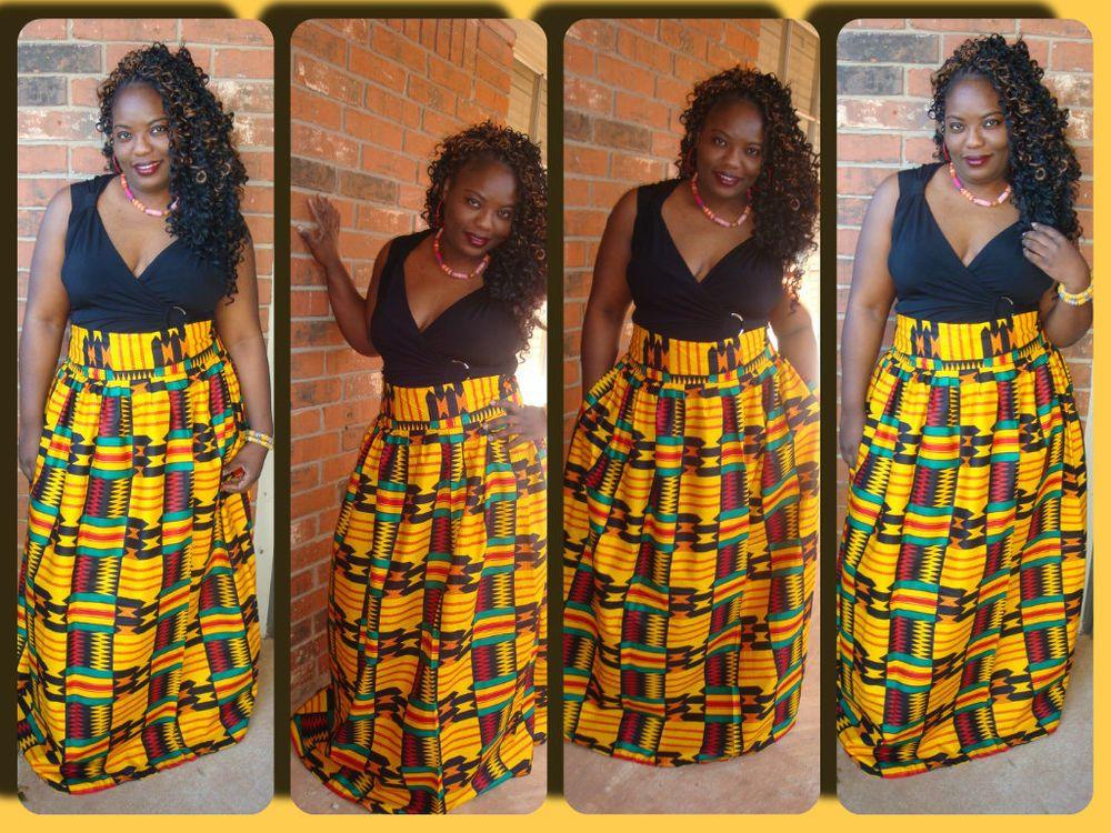African Print Maxi Skirt Plus Size African Print Multi Color Kente