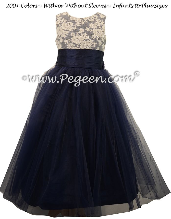 966322b2958 Navy Blue Custom Silk Flower Girl Dresses with Tulle Skirt by Pegeen ...