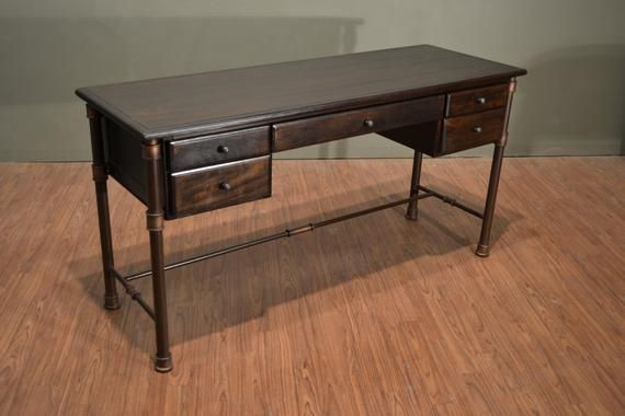 Rustic Industrial Style Solid Wood Writing Desk Library Table With