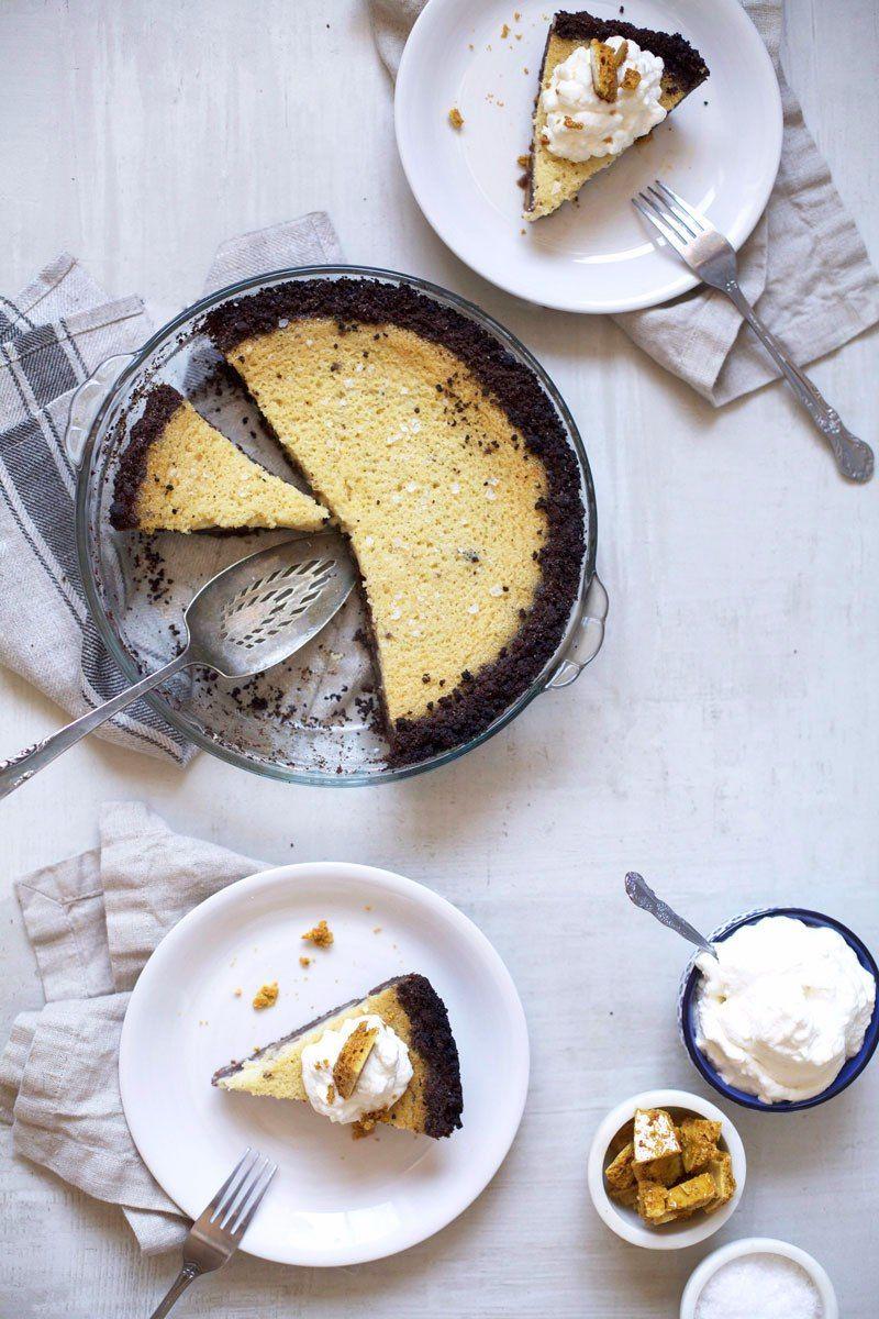 Black Bottom Salted Honey Buttermilk Pie with @heavenlyorganic